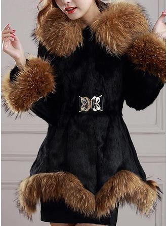 Tekoturkki Pitkähihaiset Solid Color Tiukka takki