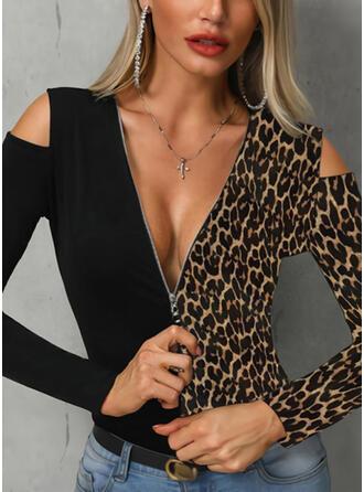 Leopard Kalte Schulter Lange Ärmel Freizeit Blusen