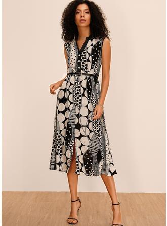 Nadrukowana/Groszki Bez rękawów W kształcie litery A Midi Casual/Elegancki Sukienki