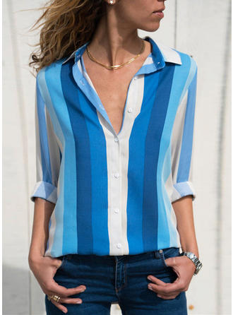 Color Block Striped Lapel Long Sleeves Button Up Blouses