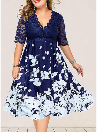 Lace/Print/Floral 1/2 Sleeves A-line Casual/Plus Size Midi Dresses