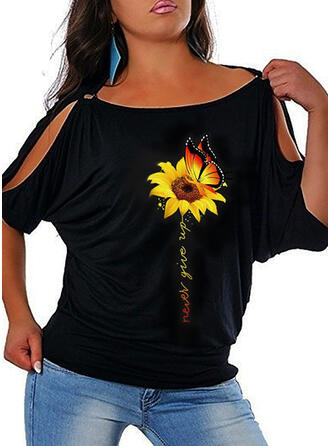 Print Sunflower Print Cold Shoulder 1/2 Sleeves Casual T-shirts