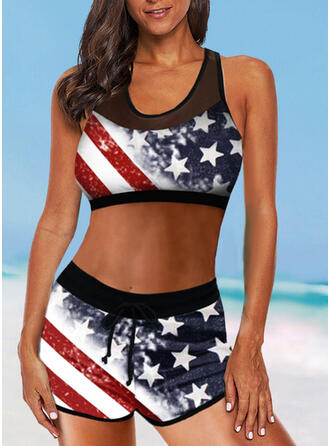 Flag Star High Waist Strap U-Neck Vintage Plus Size Bikinis Swimsuits