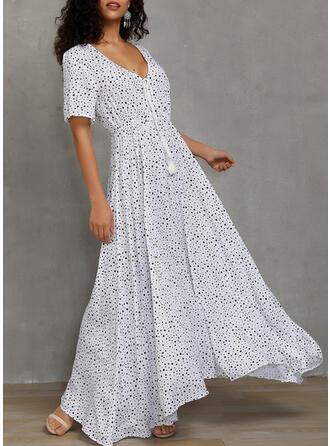 PolkaDot Short Sleeves A-line Casual/Party/Vacation Maxi Dresses