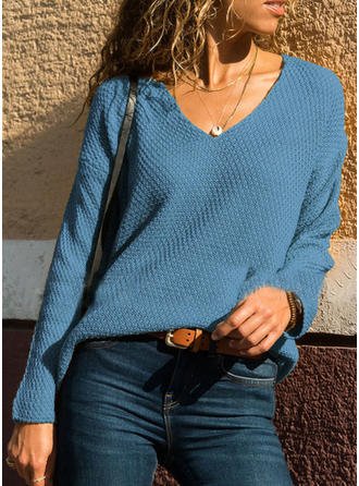 Jednolity kolor V-neck Swetry