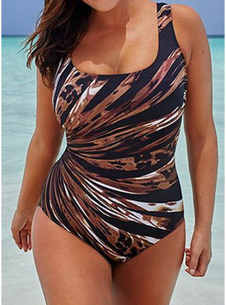 Stripe U Neck Sexy Plus Size One-piece Swimsuits