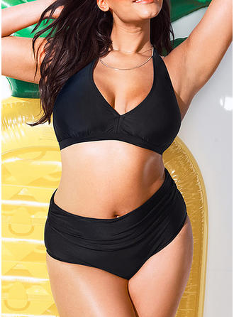 Solid Color Halter Elegant Plus Size Bikinis Swimsuits