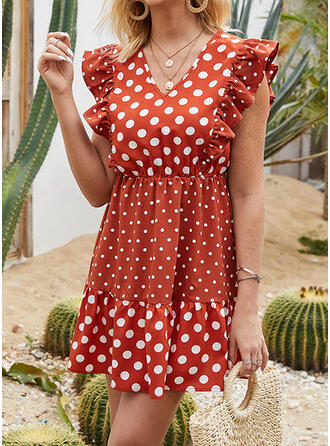 PolkaDot Cap Sleeve A-line Above Knee Casual/Vacation Dresses