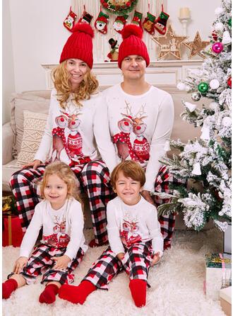 Північний олень Καρό Смугастий Εκτύπωση Для сім'ї Різдвяні піжами