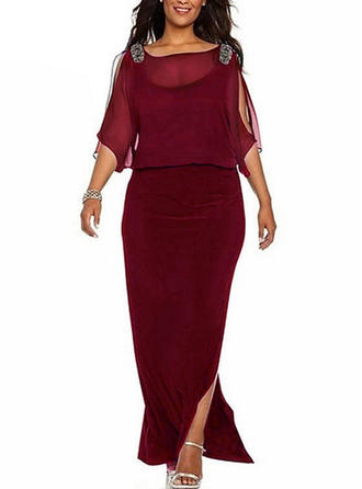 Solid 3/4 Sleeves Shift Maxi Party/Elegant Dresses