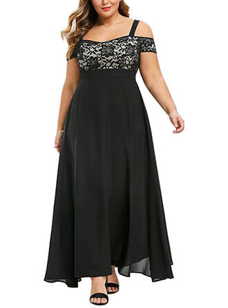 Plus Size Lace Short Sleeves A-line Maxi Elegant Party Dress
