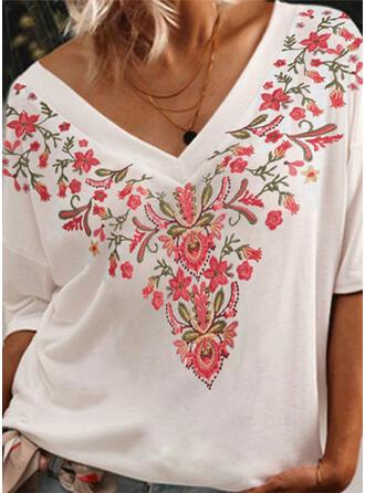Nadruk Kwiatowy Dekolt w kształcie litery V Rękaw 1/2 Casual T-shirty