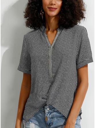Striped V-neck Short Sleeves Casual Elegant Knit Blouses