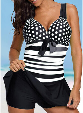 Dot Stripe Strap V-Neck Vintage Fresh Plus Size Swimdresses Swimsuits