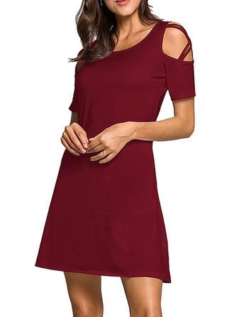 Solid Cold Shoulder Sleeve A-line Above Knee Little Black/Casual Dresses