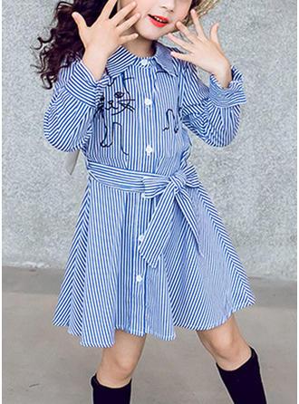 Dziewczyny W paski Kokarda Nieformalny Sukienka