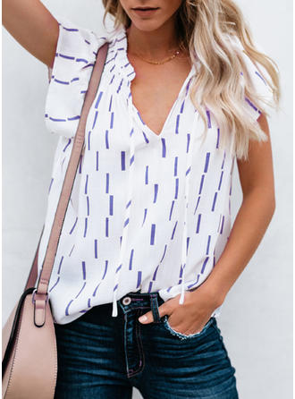 Cotton Blends V Neck Print Short Sleeves Casual Blouses