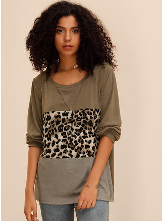 Color Block Animal Print Round Neck Long Sleeves Casual Blouses