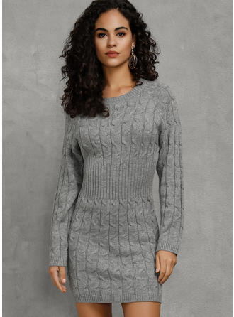 Solid Cable-knit Chunky knit Round Neck Sweater Dress