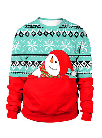 Cotton Blends Print Christmas Sweatshirt