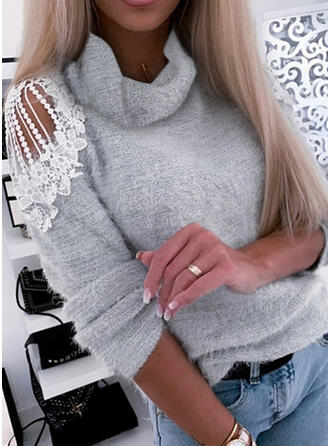 Solid Lace Turtleneck Casual Sweaters