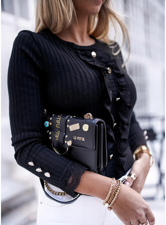 Solid Lace Round Neck Casual Tight Sweaters