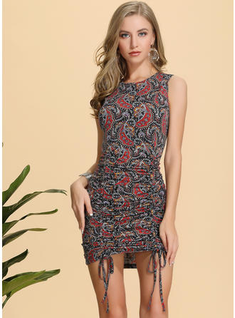 Print Sleeveless Sheath Above Knee Casual/Boho/Vacation Dresses