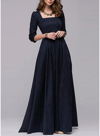 Solid Encolure carrée Maxi Robe trapèze