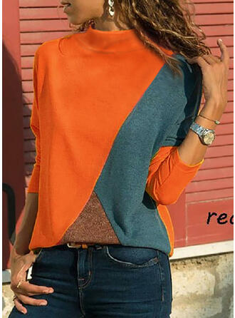 Bloque de color Cuello redondo Manga Larga Casual Blusas