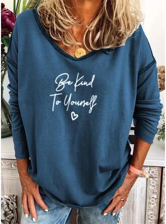 Print Figur Hjerte V-hals Lange ærmer Sweatshirts