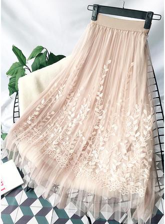 Polyester Bestickt Knielänge A-Linie Röcke