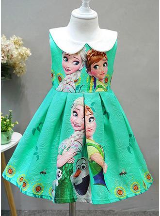 Girls Round Neck Print Zipper Cute Dress