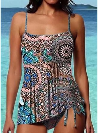 Print Strap Boho Tankinis Swimsuits
