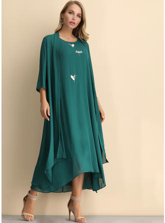 Embroidery/Solid 3/4 Sleeves Shift Midi Casual/Elegant Dresses