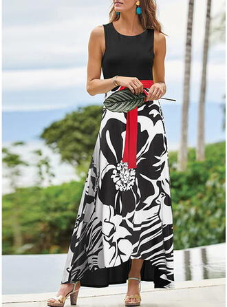 Print Sleeveless A-line Skater Elegant/Vacation Maxi Dresses
