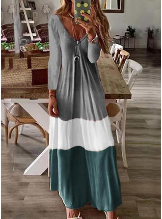 Bloque de color Manga Larga Tendencia Maxi Casual Vestidos