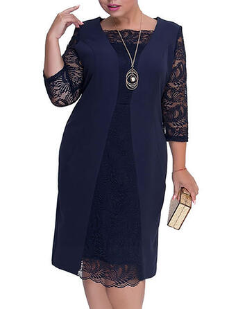 Lace/Solid 3/4 Sleeves Sheath Party/Elegant/Plus Size Midi Dresses