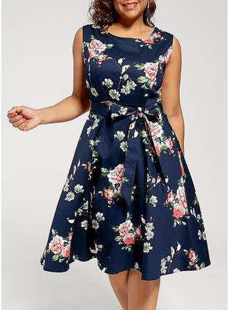 Print/Floral Sleeveless A-line Casual/Elegant/Plus Size Midi Dresses
