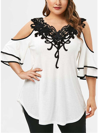Patchwork Lace Cold Shoulder 1/2 Sleeves Casual Plus Size Blouses