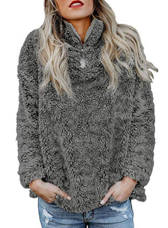 Polyester pied de col Gros tricot Pulls