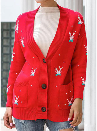 Polyester Long Sleeves Print Cardigans