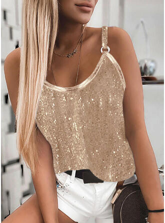 Solid Spaghetti Straps Sleeveless Tank Tops