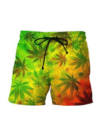 Men's Leaves Board Shorts Swimsuit