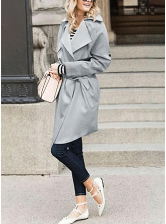 Cotton Blends Long Sleeves Plain Trench Coats