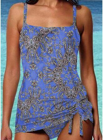 Print Strap Vintage Boho Tankinis Swimsuits