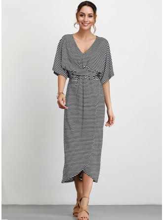 Striped 1/2 Sleeves A-line Midi Casual Dresses