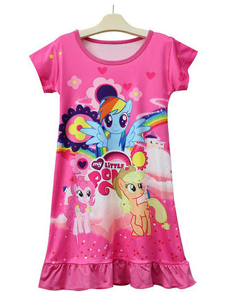 Girls Round Neck Animal Casual Cute Dress