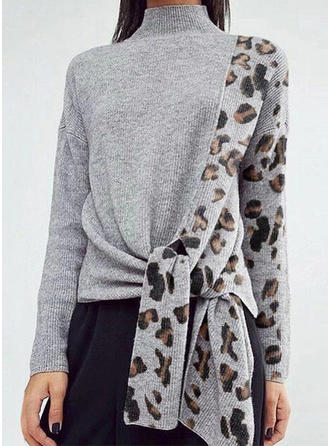 Color Block Animal Print Stand Collar Sweaters