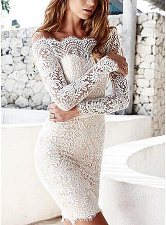 Lace Solid Off-the-Shoulder Above Knee Bodycon Dress