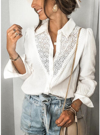 Solido Pizzo Girocollo Maniche lunghe Bottone Casuale Shirt and Blouses